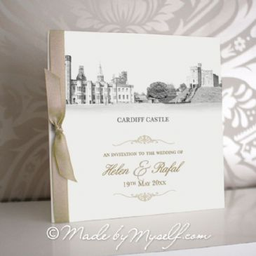 Cardiff Castle Pocketfold Wedding Invitation - Includes RSVP & Guest Information